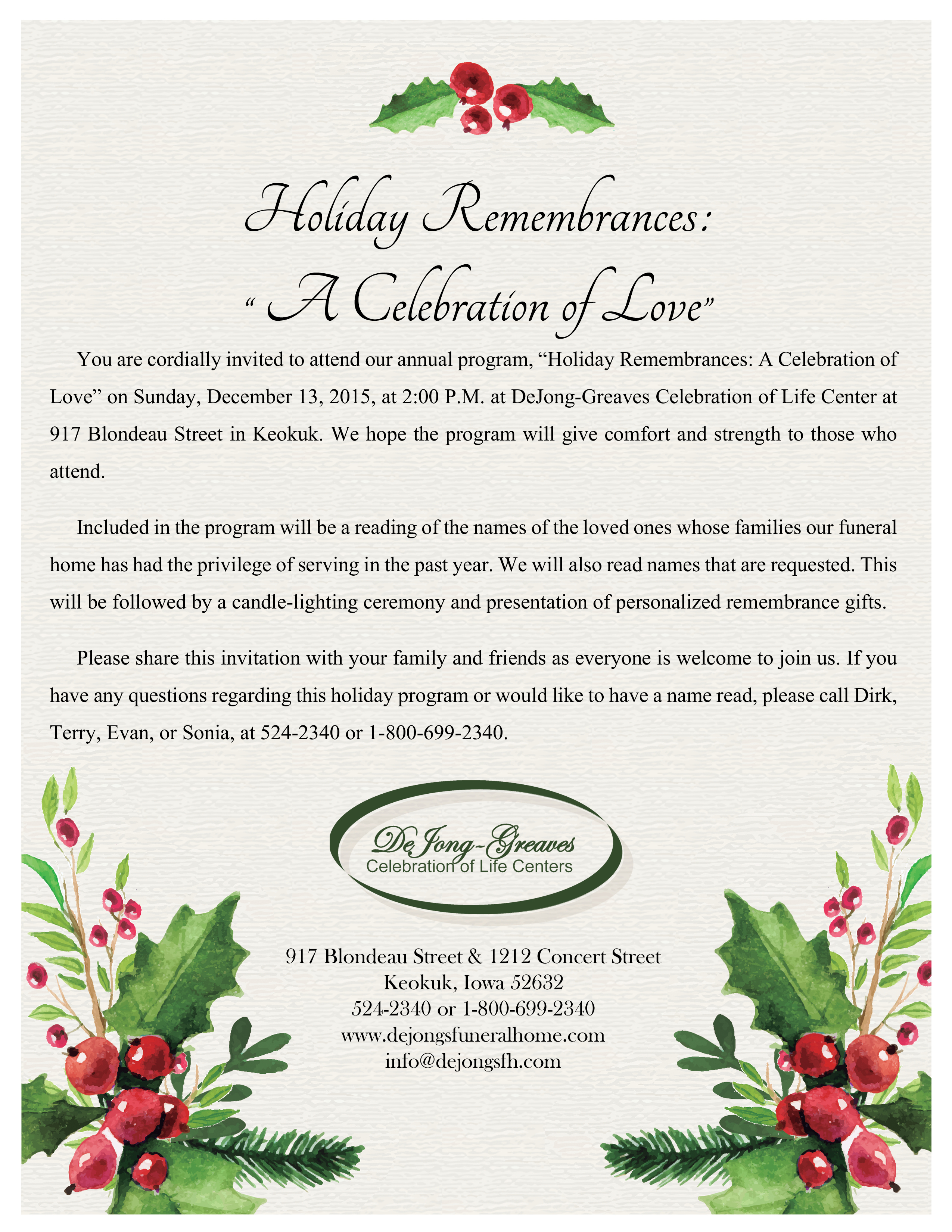 You Are Invited To Our Holiday Remembrances Program On December 13th  Invitation For Funeral Ceremony
